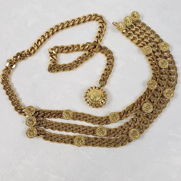 St. John Accessories - ST. JOHN VTG Gold Coin Triple Tier Chain Belt